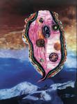 La montagne pense III - huile sous verre - 153 x 115 cm - 1999 - musée-château d'Annecy