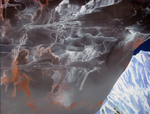 Détail, hommage à Ruysdael VII (avec ciel dramatique) - huile sous verre - 100 x 130 cm - 2004