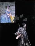 Le chien pense à Ingres - huile, soie peinte et punaises sur bois préparé - 163 x 125 cm - 1999