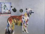 Le chien pense à Malevich - huile, mouchoirs peints, et divers sur bois préparé - 163 x 125 cm - 1999