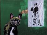 Le chien pense à Manet - huile, soie peinte et punaises sur bois préparé - 163 x 125 cm - 1999