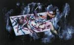 Composition (avec bébé sur un lit de fourchette)  - huile sous verre - 125 x 199 cm - 1998