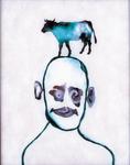 Tête (avec vache) - huile sous verre - 65 x 80 cm - 1991 - série des 50 têtes regardant à gauche et à droite