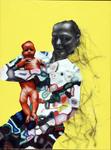 Maternité fond jaune - huile et acryl sur toile -80 x 60 cm - 2005