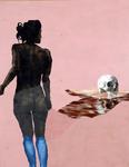 Nu au crâne ( Clémentine) - acryl, tempéra, cheveux et poussières sur toile - 173 x 135 cm - n° 24/2006
