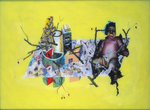 Composition avec architecture, diptyque avec Composition avec vanité et moteur - huile sous verre - 115 x 154 cm - 1998