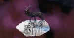 Sans titre n°19 (cerf violet) - huile sous verre - 78x143 cm - n° 26/2002 - série Caprices