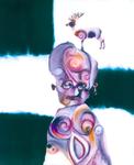 Tête mélo (au cerf) - huile sous verre - 165 x 145 cm -1993