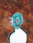 Tête (avec oiseau) - huile sous verre - 69 x 87 cm - 1994 - série des 50 têtes regardant à gauche et à droite