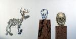 Composition avec branche morte - liège, boutons, perles et galets sur panneau préparé - 114 x 152 cm - 1996