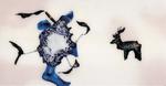 Sans titre n°11 (fumeur avec cerf) - huile sous verre - 78x143 cm - n° 18/2002 - série Caprices