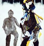 Personnage et armure - huile et acryl sur toile - 154 x 147 cm - n° 26/2006