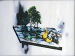 Suite Hölderlin combat de chiens - huile sous verre - 117 x 154 cm - 1997