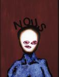 Tête (avec NOUS) - huile sous verre - 69 x 87 cm - 1994 - série des 50 têtes regardant à gauche et à droite