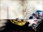 Hommage à Ruysdael III  (to Townes van Zandt) - huile sous verre - 100 x 130 cm - 2004