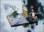 """Suite Hölderlin """"Wie wenn..."""" avec bébé - huile sous verre - 117 x 154 cm - 1997"""