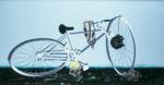 Composition avec bicyclette - huile sous verre - 108 x 200 cm -1997