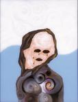 Tête (avec larmes) - huile sous verre - 70 x 88 cm - 1992 - série des 50 têtes regardant à gauche et à droite