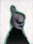 Tête (avec main) - huile sous verre - 70 x 88 cm - 1991 - série des 50 têtes regardant à gauche et à droite