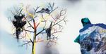 Sans titre n° 2  (montagne regardant arbre avec avions) - huile sous verre - 78x143 cm - n° 3/2002 - série Caprices