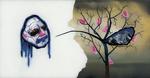 Sans titre n° 3  (masque rasta disant montagne dans un arbre) - huile sous verre - 78x143 cm - n° 4/2002 - série Caprices