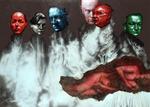 Suzanne et les vieillards - acryl, huile et perles de verre - 148 x 208 cm - 2005