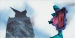 Sans titre n° 4  (bonhomme soufflant sur montagne-mer) - huile sous verre - 78x143 cm - n° 5/2002 - série Caprices