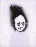 Tête (avec taureau) - huile sous verre - 70 x 88 cm - 1992 - série des 50 têtes regardant à gauche et à droite