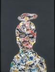 Tête (avec oreille) - huile sous verre - 70 x 88 cm - 1994 - série des 50 têtes regardant à gauche et à droite - Frac Ile-de-France