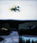 Paysage moderne au Skylab (Hommage à Franz Radziwill) - huile sous verre - 115x103 cm - n°10/2000