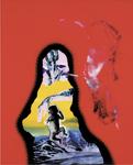 Maternité avec cigarette (fond rouge) - huile sous verre - 150 x115 cm - n° 17/2002