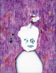 Tête (avec pistolet ) - huile sous verre - 70 x 88 cm - 1992 - série des 50 têtes regardant à gauche et à droite