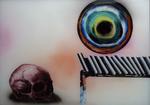Crâne et disque coloré - huile sous verre - 50 x 70 cm - 2004