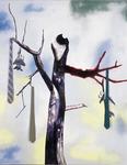 Inakalé II - huile sur toile, cravates- 230 x 180 cm - 2002