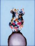 Tête (avec foetus) - huile sous verre - 70 x 88 cm - 1994 - série des 50 têtes regardant à gauche et à droite