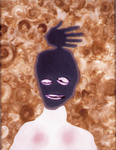 Tête (avec main) - huile sous verre - 64 x 80 cm - 1991 - série des 50 têtes regardant à gauche et à droite