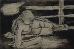 Nande Vidmar: Ležeči interniranec ob ograji, Gonars 1942