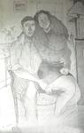 Dessin Préparatoire 1 sur feuilles- mine de plomb (120 X 80 cm) - Les amoureux