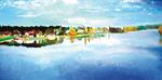 l'étang de sault l'automne (100*50 cm) huile sur toile 2003