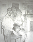 Dessin Préparatoire 2 sur Toile- mine de plomb (F50 - 116 X 89 cm) - Les amoureux