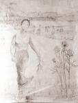 """5 - Dessin préparatoire - """"Versailles, au parc et roses"""" (mine de plomb 120*80 cm)"""