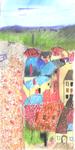 Crayon Pastel - Vue sur l'esplanade du château des Bourbon, Montlucon - Atelier Rouget