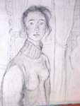 """""""Visite à trianon"""" - Florence (mine de plomb sur papier a peindre)"""