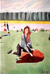 """Un après-midi au grand canal (162*114 cm) huile sur toile 2010 (Argentique) Exposé à """"LA LOUVIERE"""" 2011 Amis des arts"""