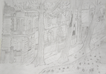 Crayon - Vue sur avenue Marx Dormoy, Montlucon - Atelier Rouget