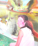 Balllade au parc saint-jean (65*54 cm) huile carton entoilé 2001