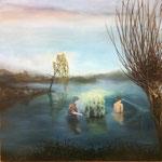 Bei Nacht und Nebel 2017, Öl auf Leinwand, 100x100