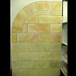 Wandverblendung aus verschiedenen Steinarten - alle gemalt!