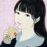『タピオカ大好き♡』2020年 F0号 個人蔵