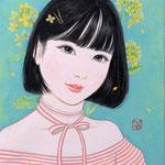 『菜の花ガール*Aya』2021年 F0号 個人蔵
